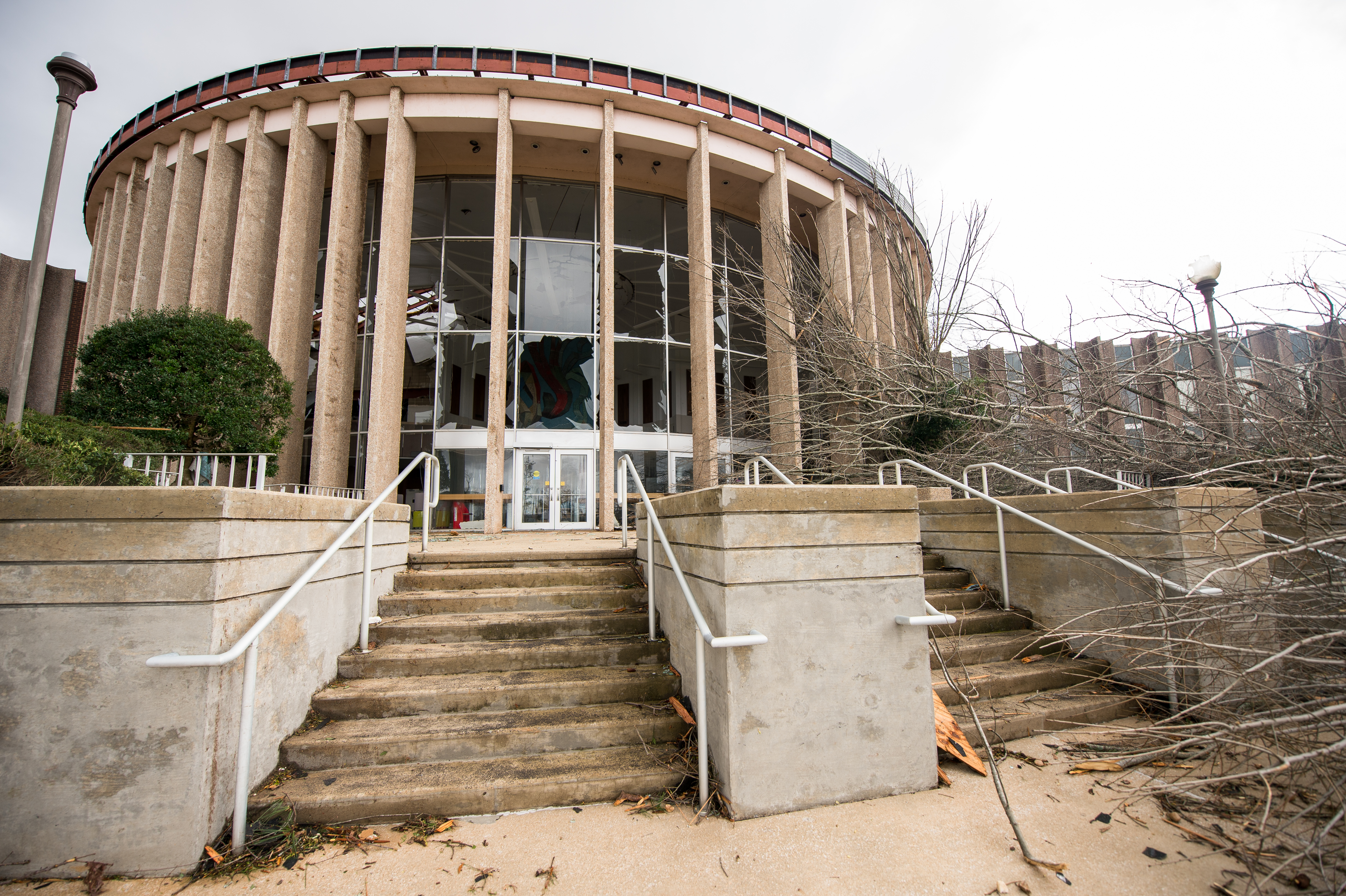 Pictured is the damage at Merrill Hall shortly after the devastating EF-3 tornado that affected Jacksonville State University and the city of Jacksonville on March 19, 2018. (Matt Reynolds/JSU)