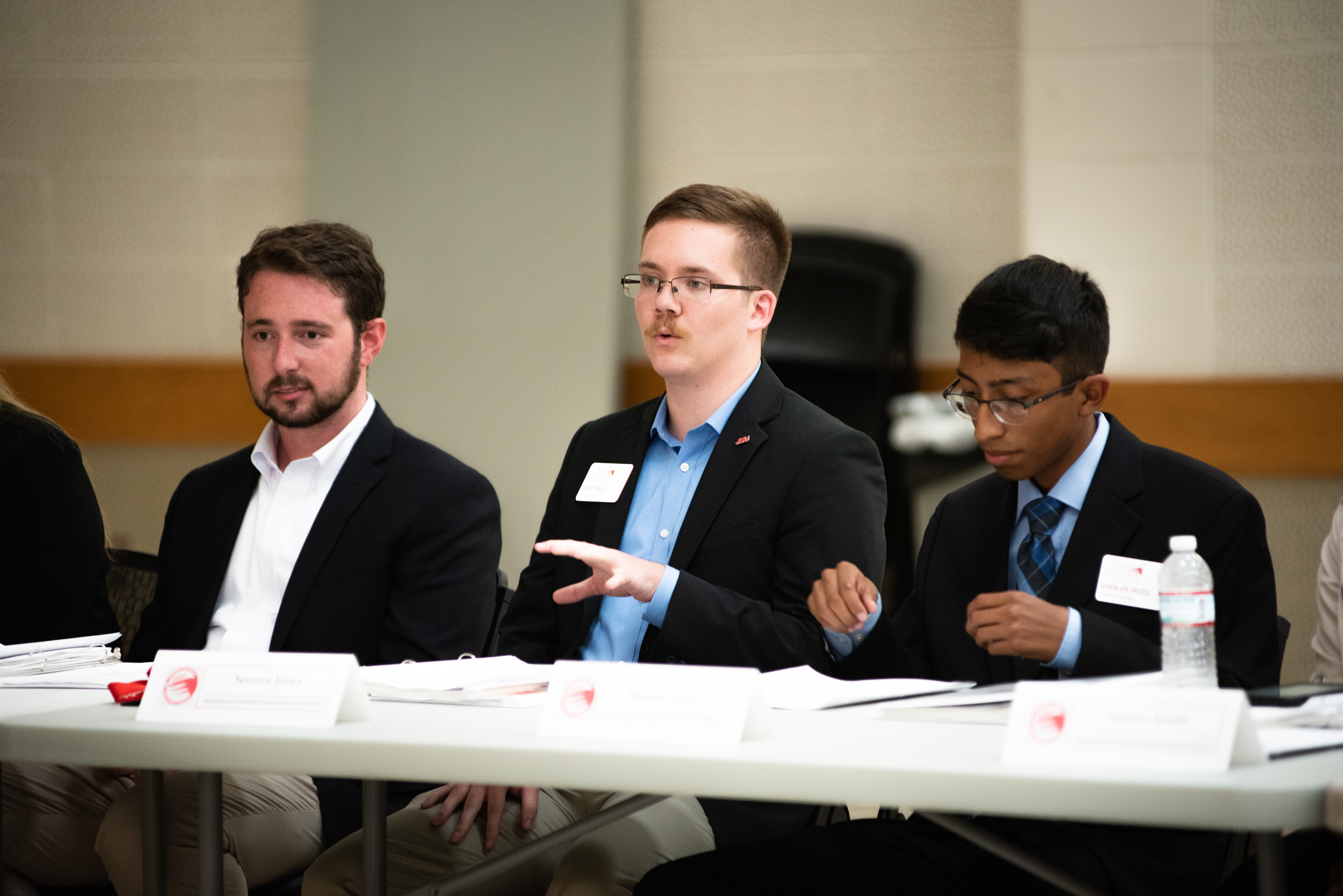 Student Senators, from left, Adam McNeal, Justin Jones and Guadalupe Orozco, in attendance of a Student Senate meeting on September 16. (Grace Cockrell/JSU)