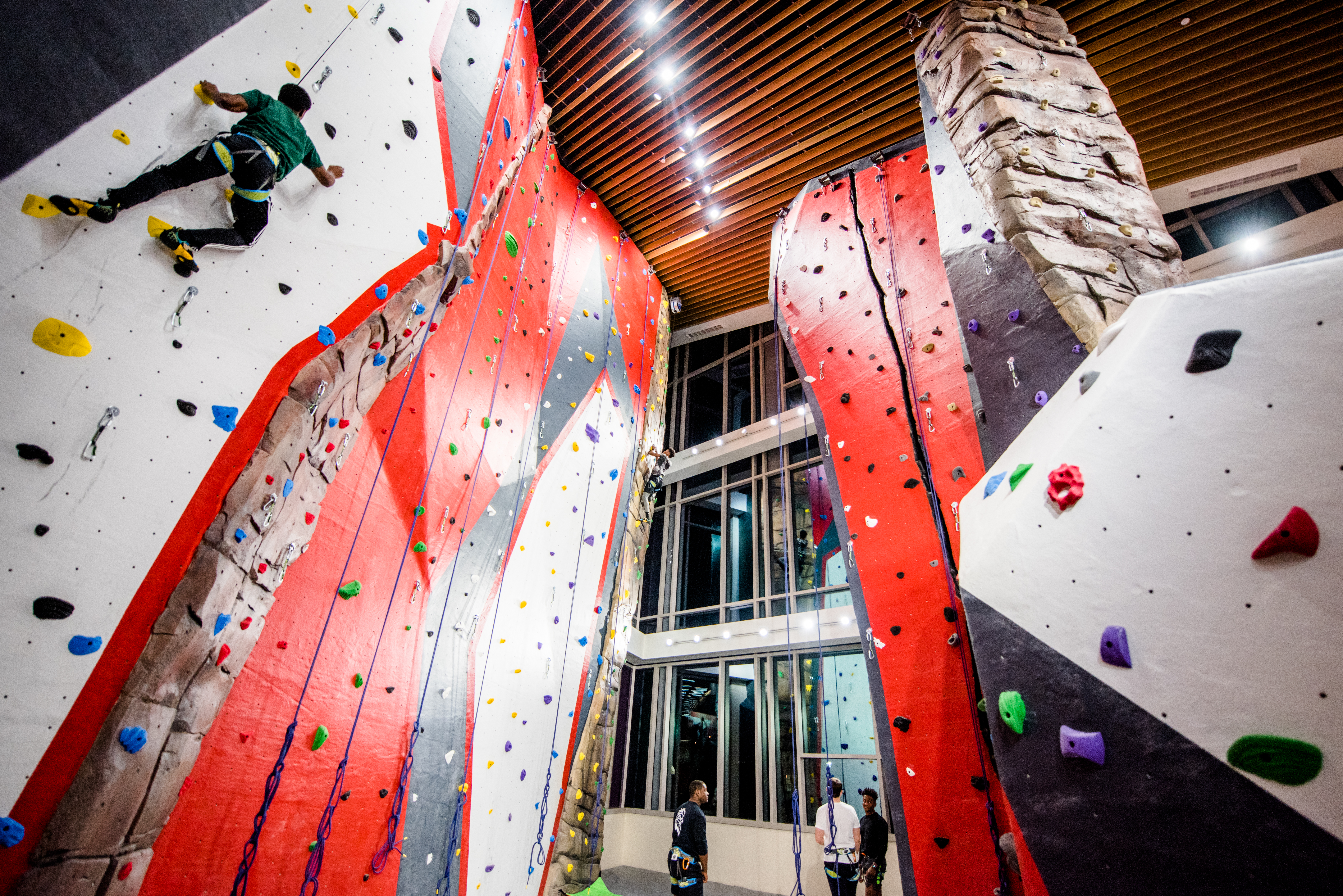 Students enjoy rock climbing wall shortly after the grand opening of the Recreation and Fitness Center in spring 2019. (Grace Cockrell/JSU)