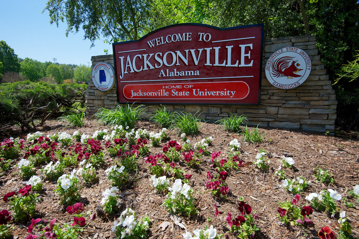 Photo of the 'Welcome to Jacksonville' sign. (Courtesy of JSU)