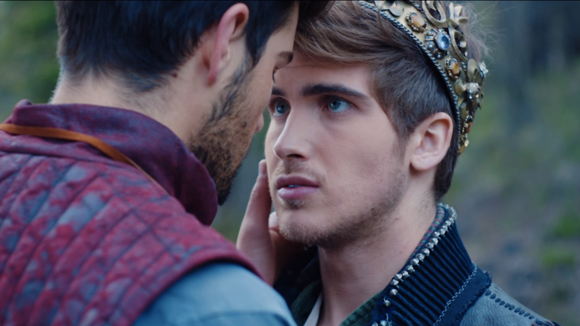 """Joey Graceffa, right, and blogger Daniel Preda, left, in the 2015 music video called """"Don't Wait"""" where Graceffa comes out to his audience as gay. (Photo courtesy of Bustle)"""