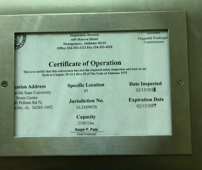 Photo of the 'Certificate of Operation' for the elevator in Stone Center, posted in the 'REAL JSU Students Protest' group showing that the elevator inspection expired eight months ago. (Courtesy of Connor Griffith)