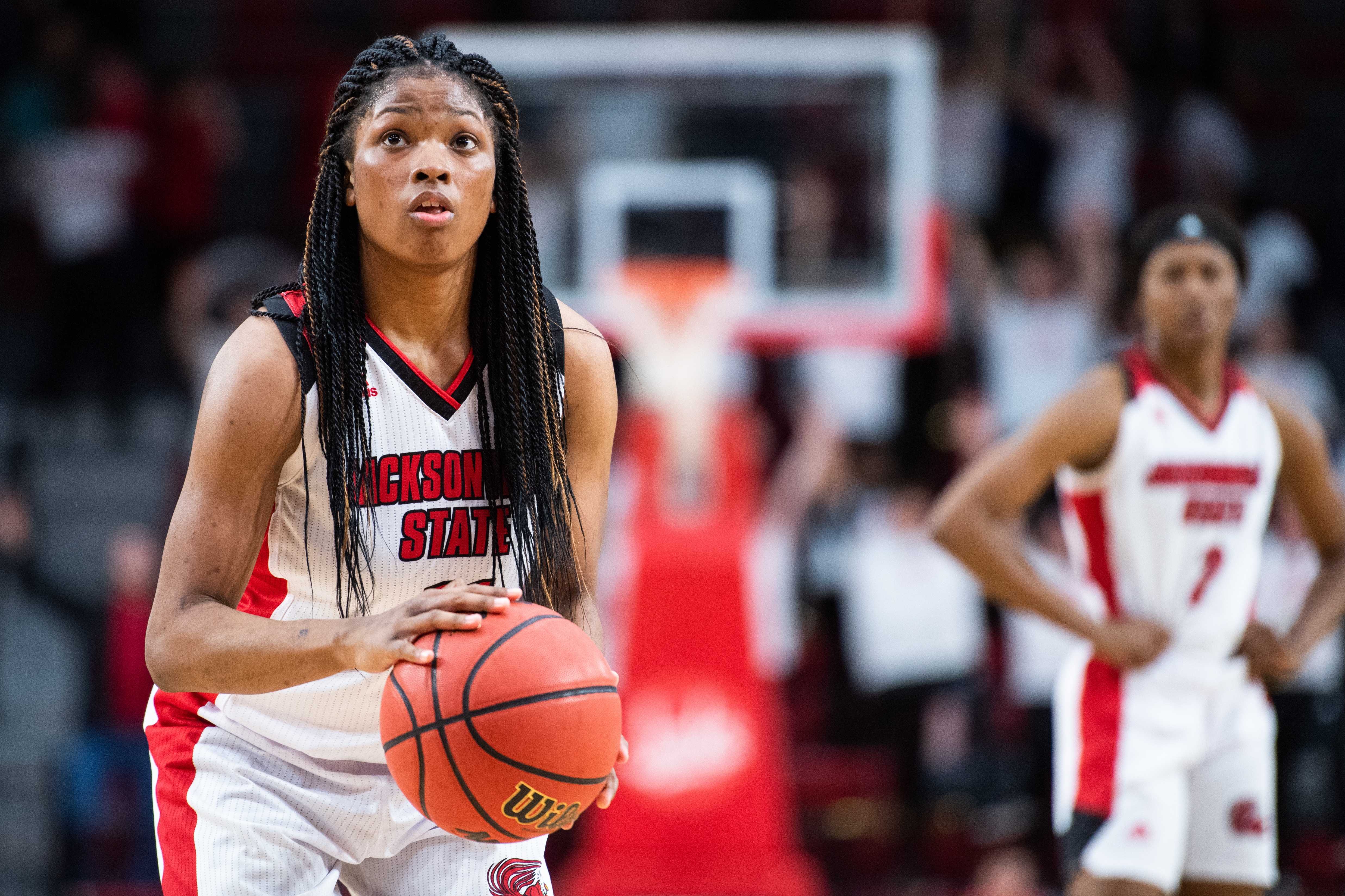 Junior guard Kiana Johnson attempting a free throw in Wednesday's game against Berry College. (Courtesy of JSU)