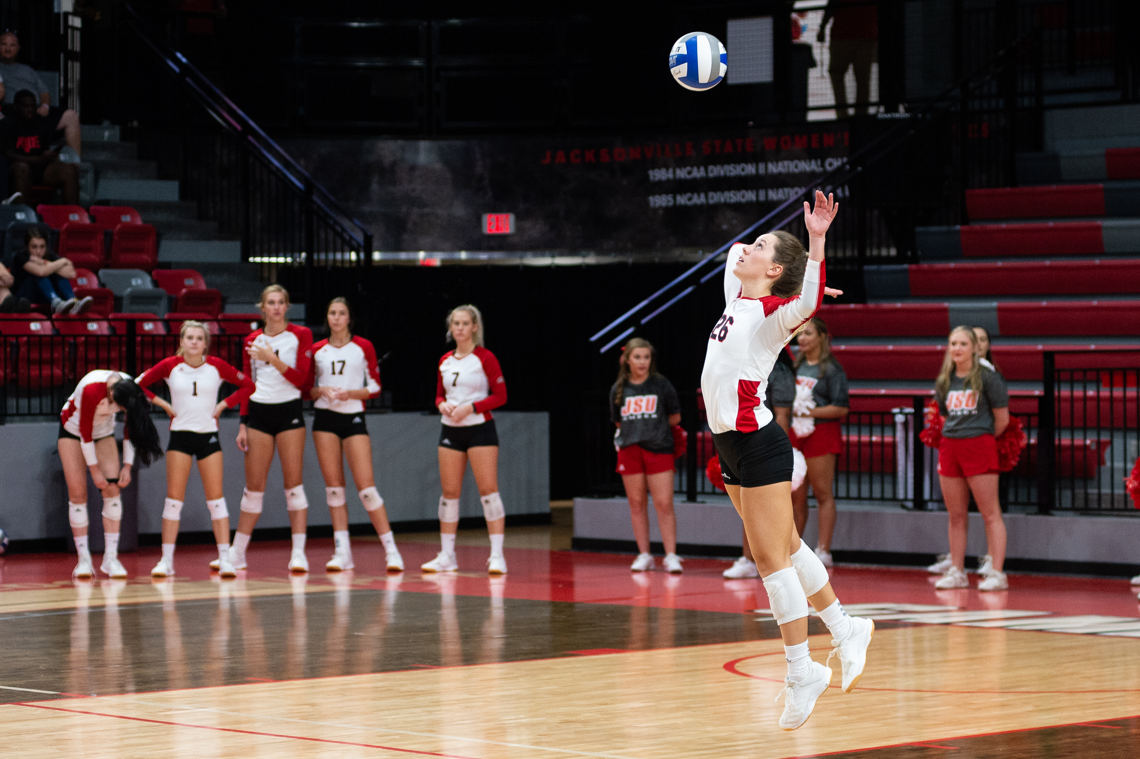 Senior Maddie Cloutier jump-serves the ball for her team. (Courtesy of JSU)