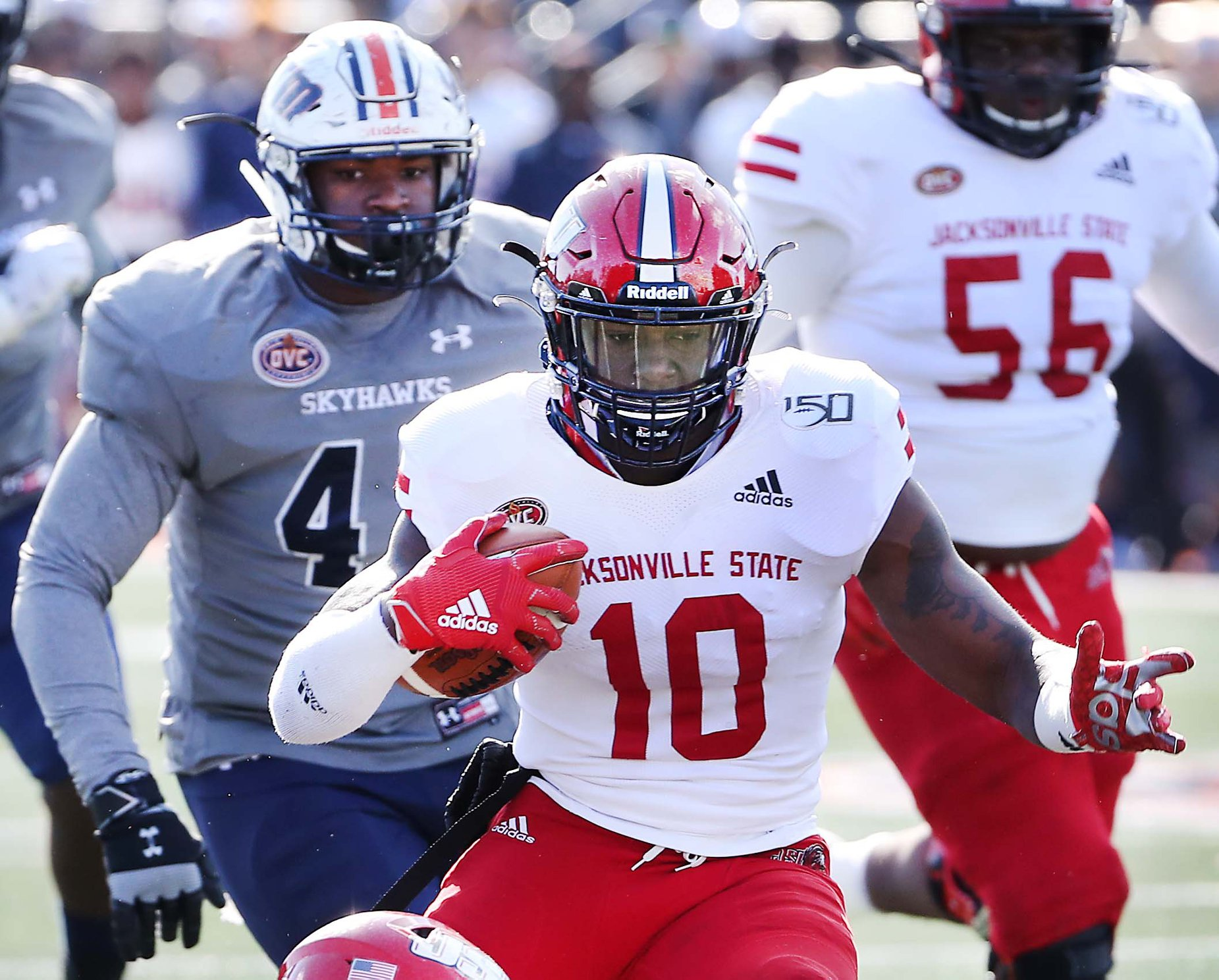 Jacksonville State's Zion Webb gets chased by TN-Martins TJ Jefferson during the JSU at UT Martin OVC football game in Martin, Tennessee. (Courtesy of JSU)