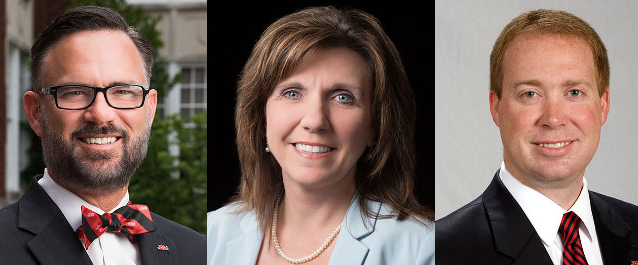 Pictured left is Dr. Tim King, Vice President for Student Affairs. Pictured center is Dr. Christie Shelton, provost and Vice President for Academic Affairs. Pictured right is Dr. Don Killingsworth, acting president. (Courtesy of JSU)