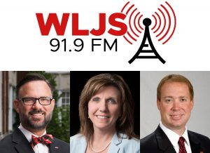 Pictured left is Dr. Tim King, Vice President for Student Affairs. Pictured center is Dr. Christie Shelton, provost and Vice President for Academic Affairs. Pictured right is Dr. Don Killingsworth, acting president. (Courtesy of WLJS and JSU)