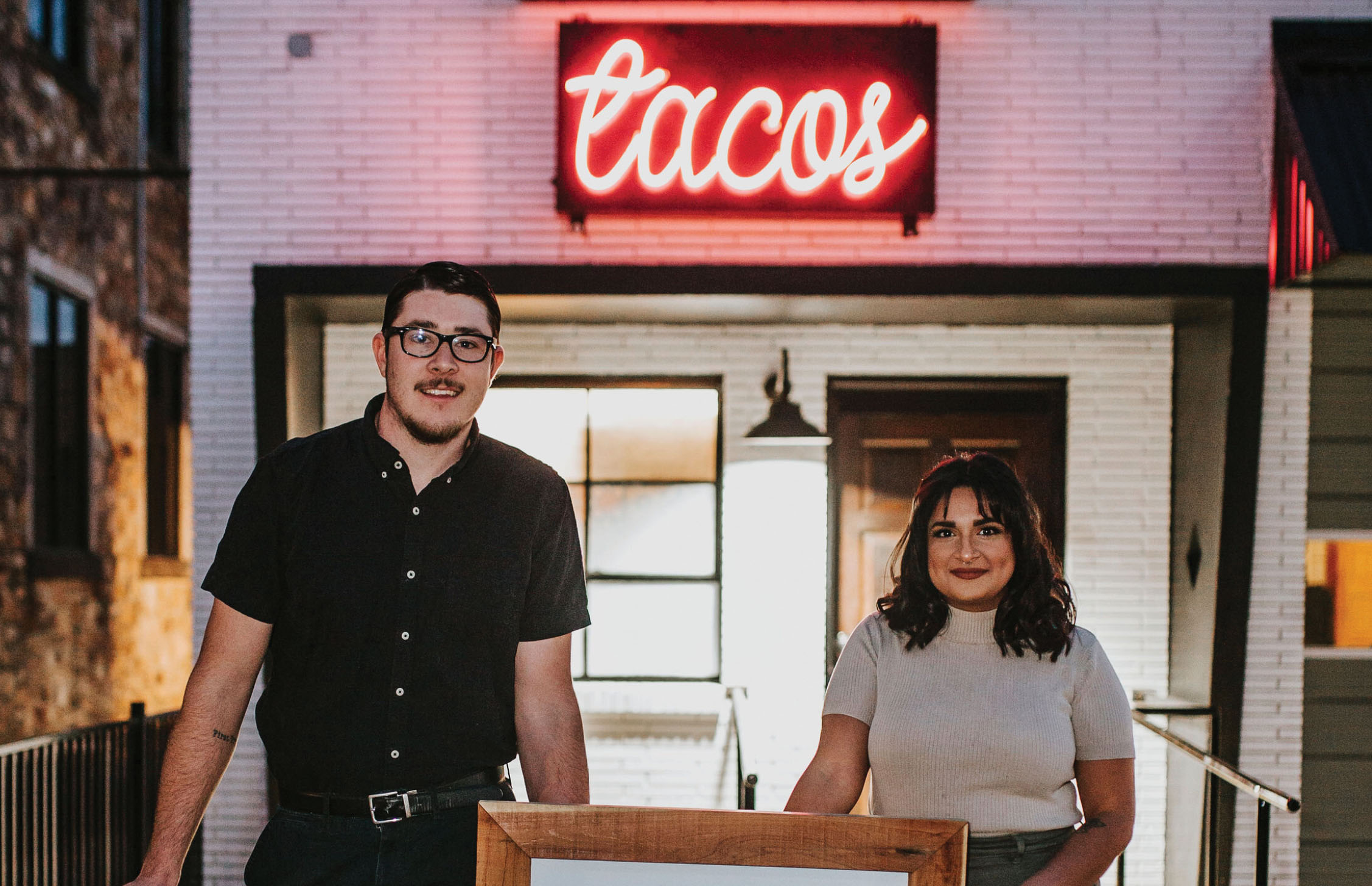 Shane Gowen, pictured left, and his wife, Aurelia Gowen, pictured right, recently opened a taco restaurant in Jacksonville called Heirloom Taco. The restaurant is located in the Jacksonville Public Square where a fire station once was. (Courtesy of Heirloom Taco)