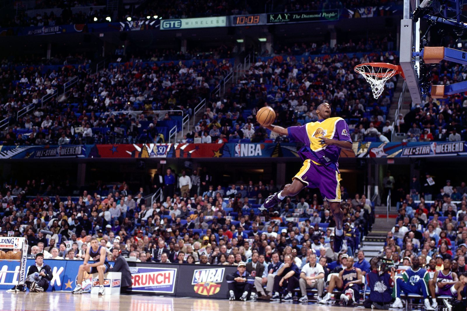 Kobe Bryant eyes the basket during the 1997 NBA Slam Dunk contest in Cleveland. Bryant was the youngest player to win the contest. (Courtesy of CNN)