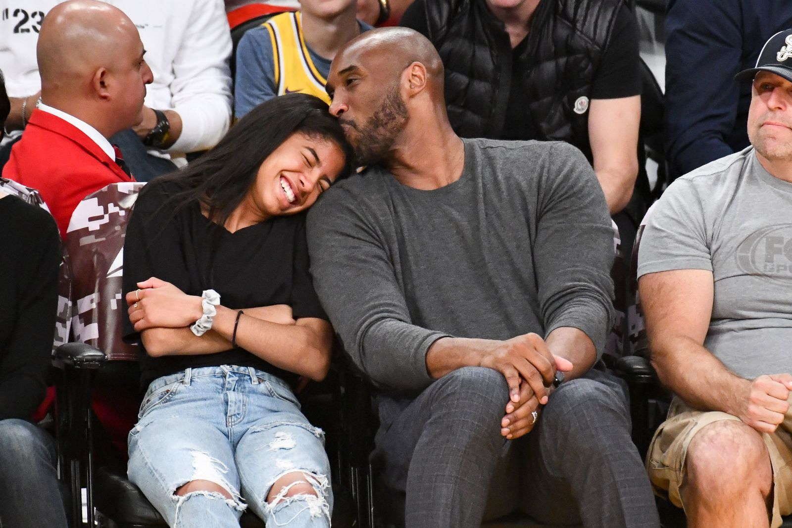 Kobe Bryant and his daughter Gianna at a Los Angeles Lakers game against the Atlanta Hawks in 2019. Both were killed in a helicopter crash in Calabasas, Calif. on Jan. 26. (Courtesy of CNN)