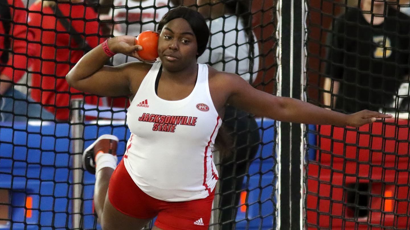 Kirsen Gardner prepares to throw a weighted ball in the shot-put event at Marshall University's Thundering Herd Invitation where the Gamecocks placed seventh overall. (Courtesy of JSU)