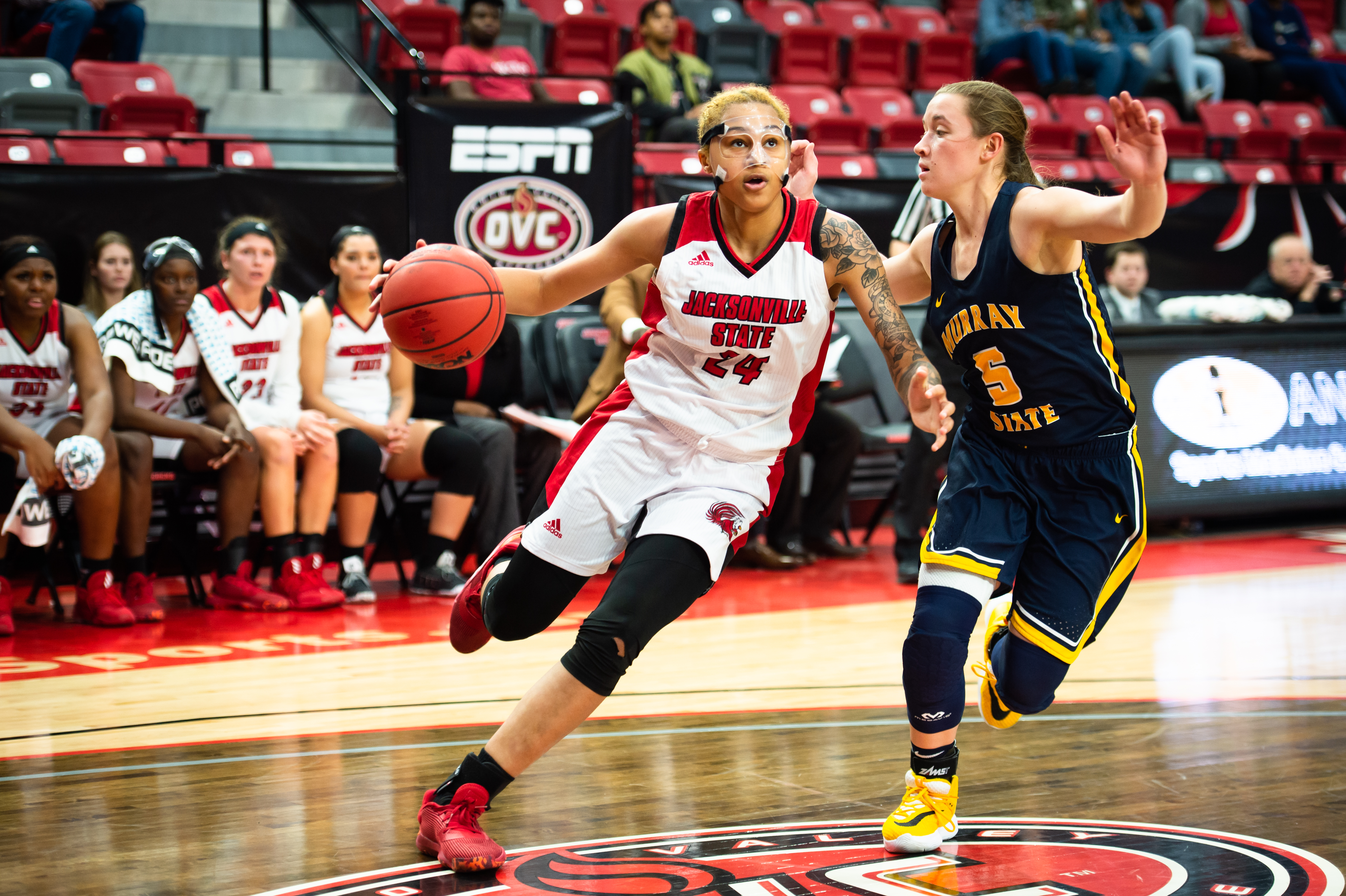 Yamia Johnson going in for a layup in a previous game against Murray State that resulted in a win for the Gamecocks with a final score of 68-51. (Courtesy of JSU)