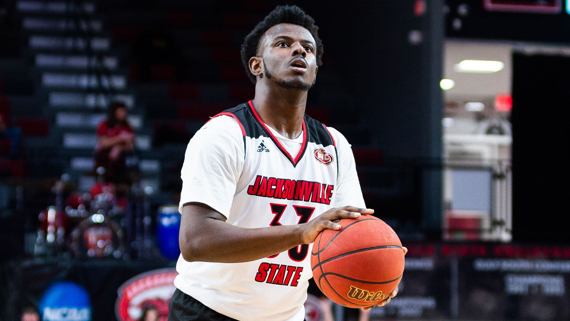 De'Torrion Ware, pictured, preparing to take a shot during the matchup against Tennessee Tech on Thursday, February 13. (Courtesy of JSU)