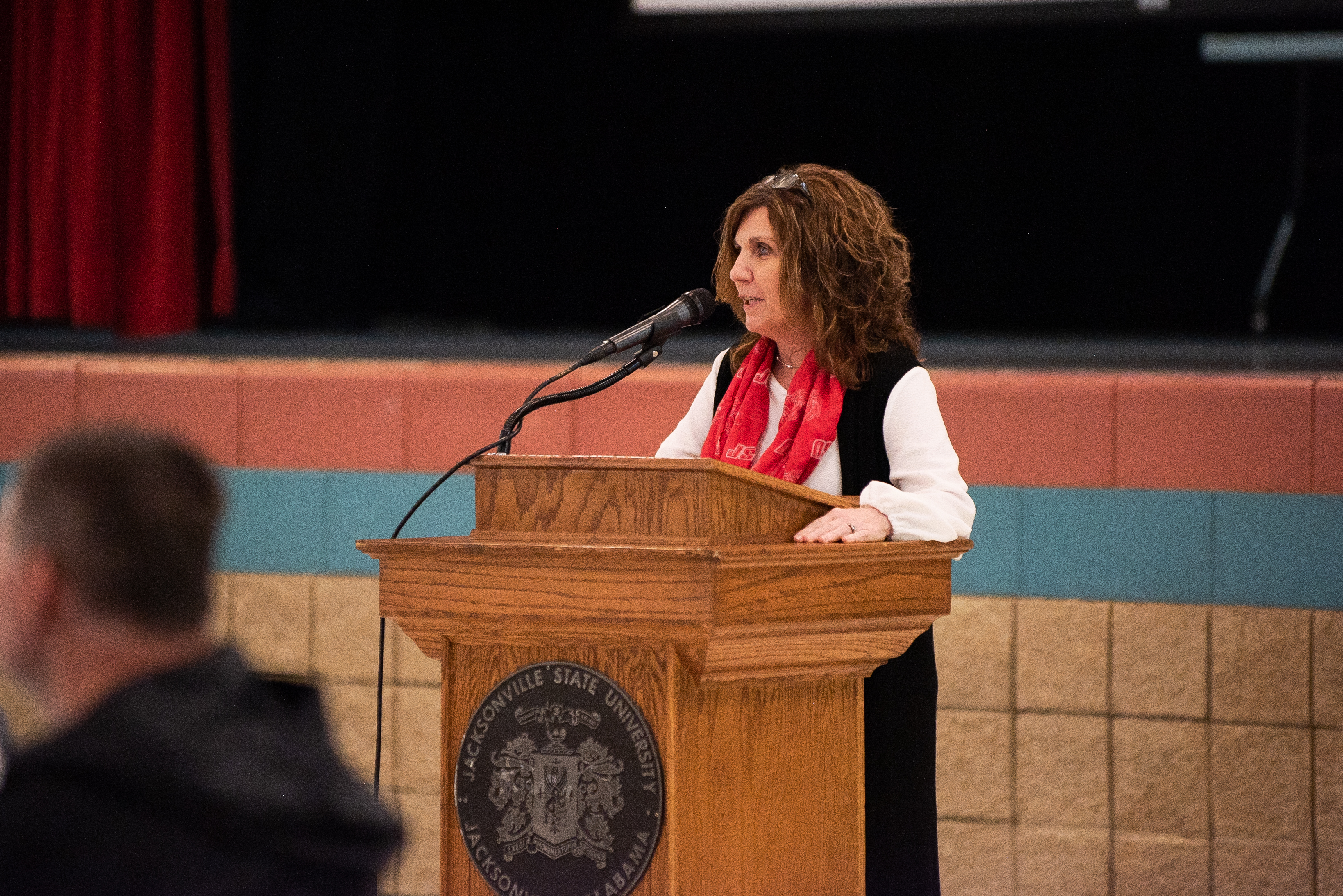 Provost Christie Shelton, pictured, speaks at the Faculty Appreciation Tailgate held on October 26, 2019. (Abigail Read/JSU)
