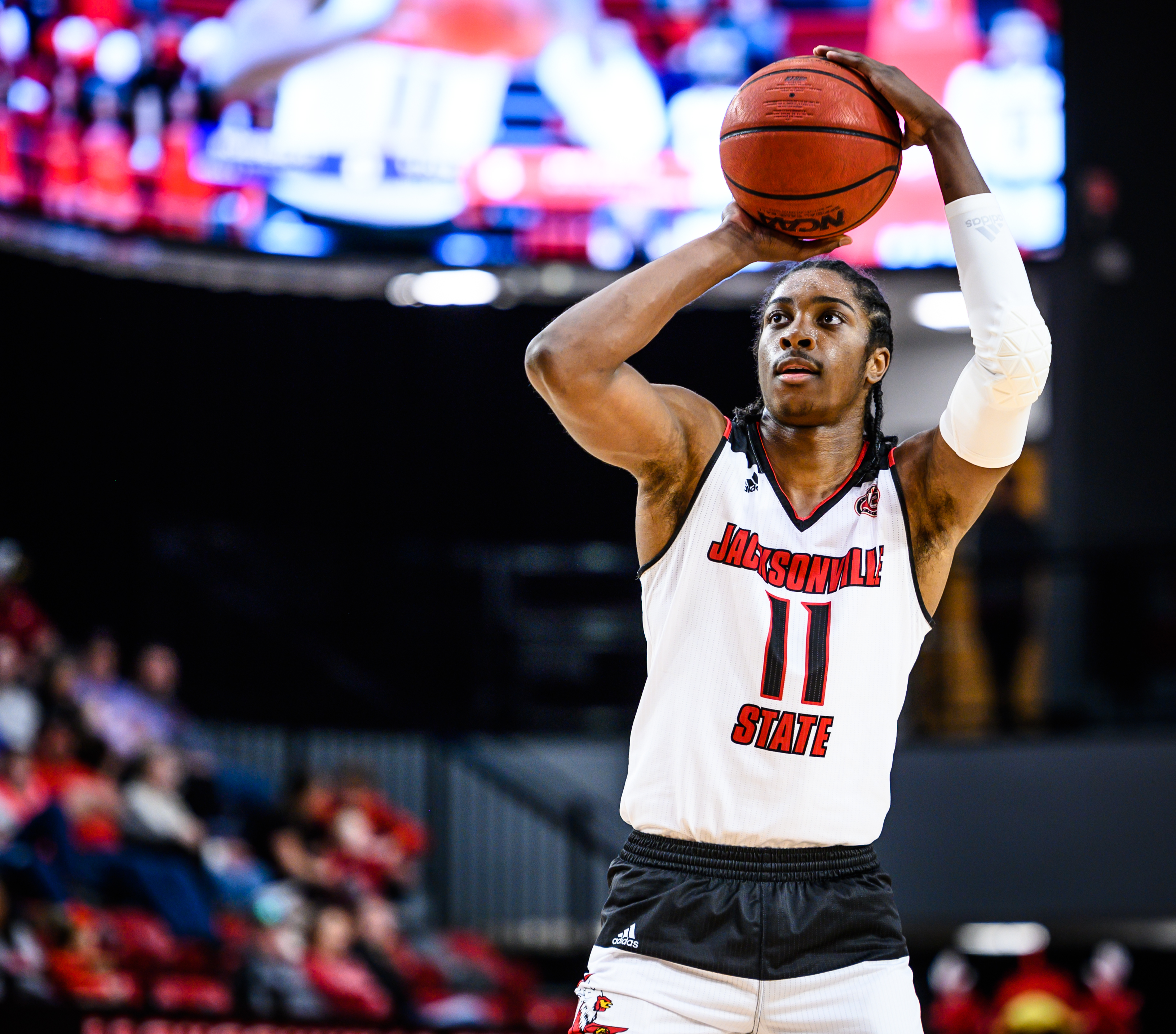 Kayne Henry shoots the ball in a game earlier in the season against Morehead State. The JSU Gamecocks came out on top with a 72-51 victory (Courtesy of JSU)