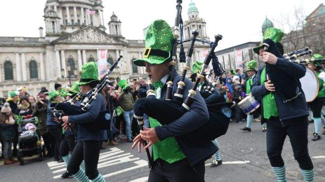 A parade is held in Belfast, Ireland to celebrate St. Patrick's Day in 2018. (Courtesy of BBC News)