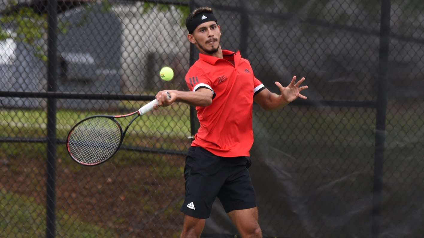 Joaquin Vallejo competes in a singles match at Jackson State where he won back-to-back sets with final scores of 6-3 and 6-4. (Courtesy of JSU)