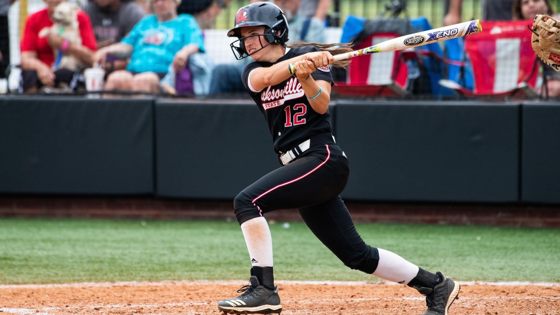 Karsen Mosely up to bat at the Mardi Gras Mambo Tournament where she totaled five hits for the weekend. (Courtesy of JSU)