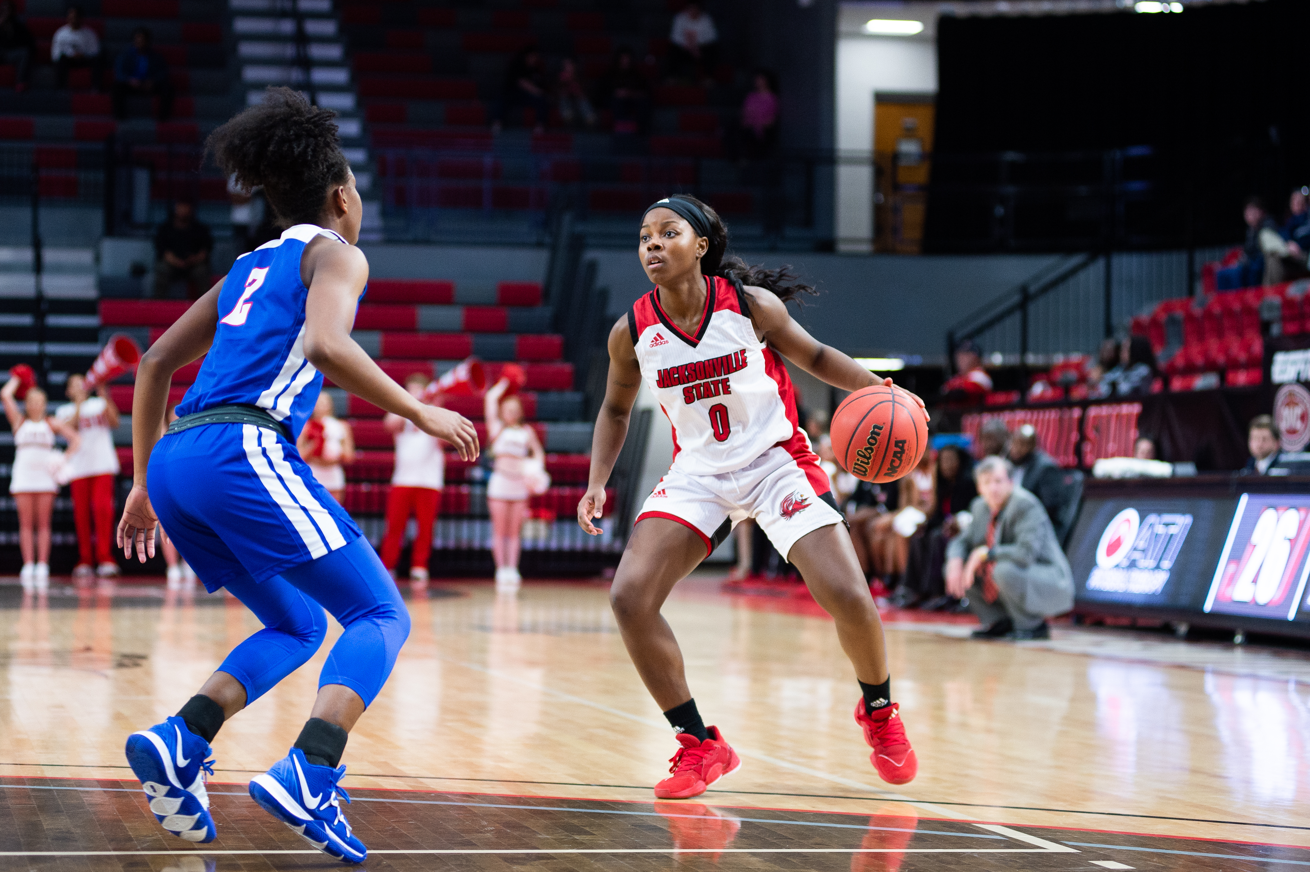 Taylor Hawks dribbles the ball as she looks for a shot as the JSU Women's Basketball defeats TSU 70-48 at Pete Mathews Coliseum. (Courtesy of JSU)
