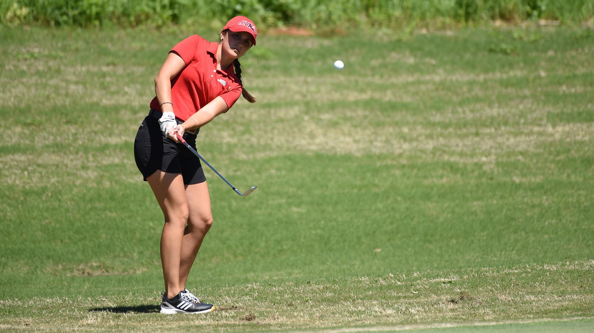 Ana Perez Altuna swings the golf club in the River Land Classic on March 10. Altuna led the Gamecocks to claim fourth place out of the twelve teams which earned her OVC female golfer of the week. (Courtesy of JSU)