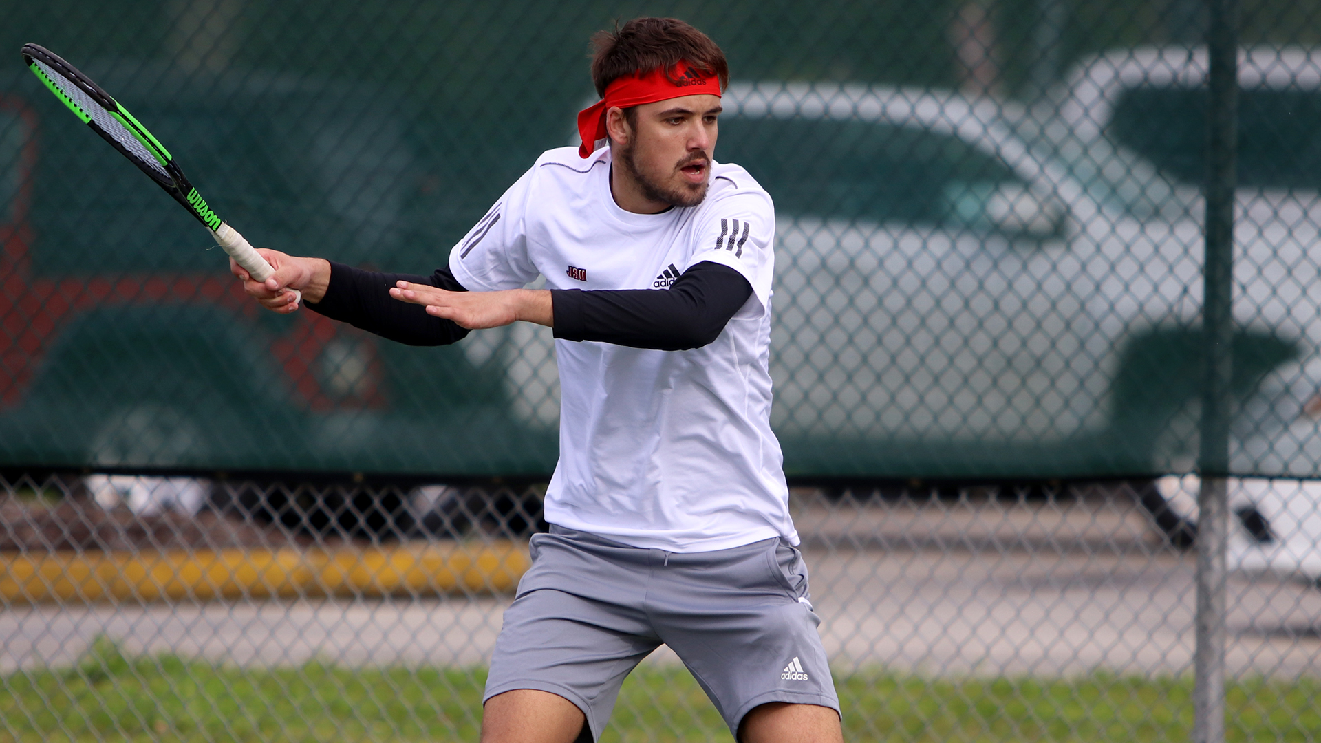 Aljaz Kaplja competes in a singles match against Kennesaw State on March 12 where he was still able to keep the Gamecocks on the board with a 6-3,6-3 two-set win over KSU's Harvey Conway. (Courtesy of JSU)