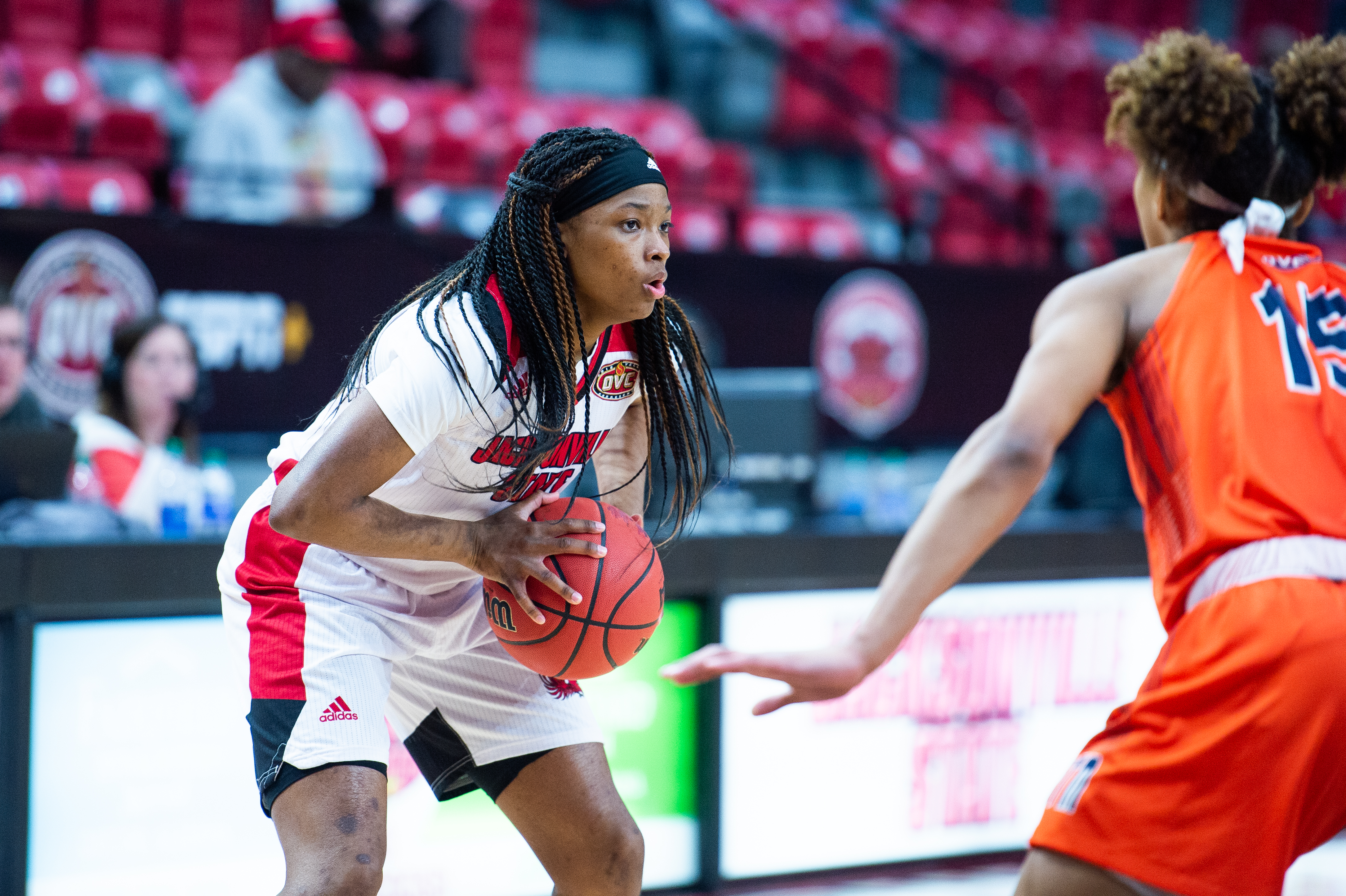 Junior Kiana Johnson in triple-threat position in an earlier game against UT-Martin at Pete Mathews Coliseum on February 22, 2020 where Johnson contributed seven points and a season high of three assists. JSU fell to the Skyhawks 73-56. (Courtesy of JSU)