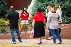 Jacksonville State University staff lead parents and prospective students on campus tours on Saturday, Sept. 19. (Matt Reynolds/JSU)
