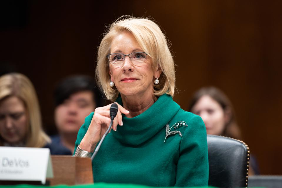 Secretary of Education Betsy DeVos announced last Thursday that student loan interest will be frozen until the end of the year. (Barcroft Media via Getty Images)