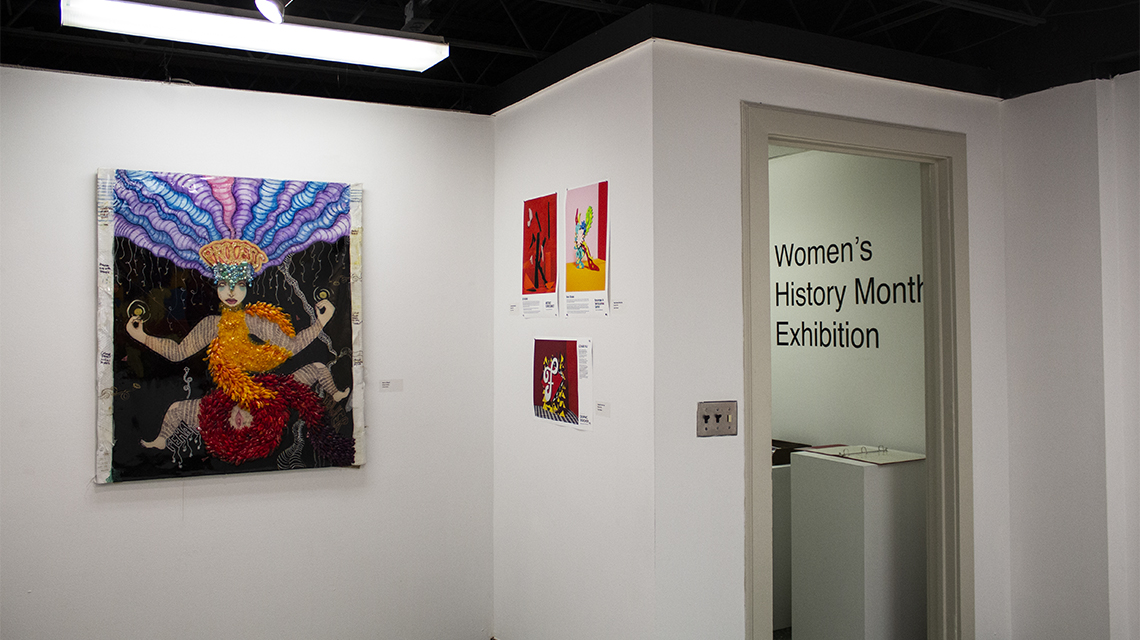 A photo taken at the 2020 Women's History Month Exhibition in the Hammond Hall gallery earlier this year. (Courtesy of JSU)