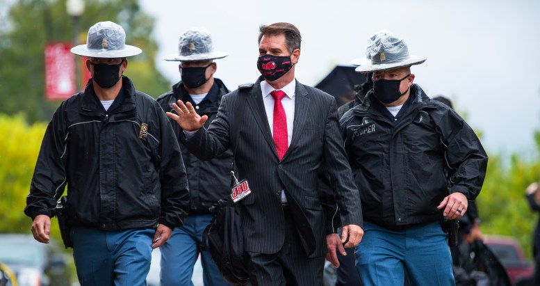 JSU football head coach John Grass pictured waving as he arrives at last Saturday's matchup against Mercer. Grass announced on Thursday that he has tested positive for COVID-19. (Matt Reynolds/JSU)