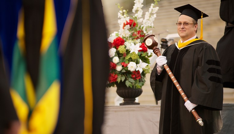 Benjie Blair attends a graduation ceremony in April 2013. The JSU School of Science announced on Tuesday that Blair, a biology professor for 22 years at JSU, died at 57. (Matt Reynolds/JSU)