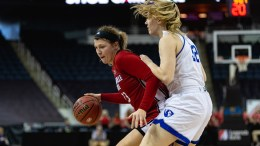 Jacksonville State senior Jessie Day (23), pictured left, defends against Eastern Illinois, where the Gamecocks were defeated, 49-46 in the OVC tournament in March. (Courtesy of JSU)