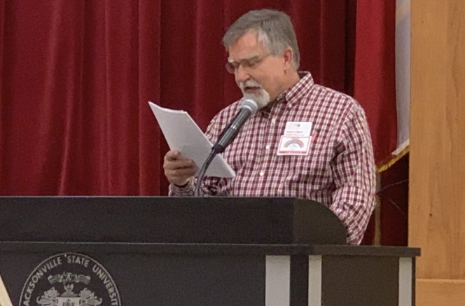 Freddy Clements, a JSU drama professor, spoke on Wednesday about his experiences as a gay man in Alabama during a Lunch and Learn event hosted by the Office of Diversity and Inclusion. (Miranda Prescott/The Chanticleer)
