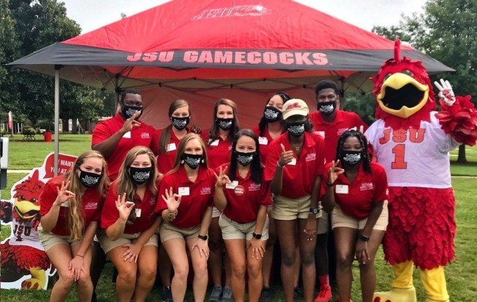 The JSU Ambassadors pose for a photo. The Ambassadors serve as hosts and hostesses of the university, taking on tasks such as greeting prospective students and making them feel welcome on campus. (Courtesy of Lauren Shirley)