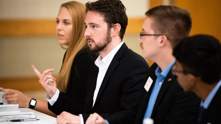 Senator Adam McNeal pictured at a SGA Senate meeting in September of 2019. (Grace Cockrell/JSU)