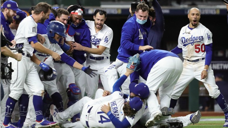 The L.A. Dodgers won the World Series after defeating the Tampa Bay Rays. (Kelly Gavin/Getty Images)