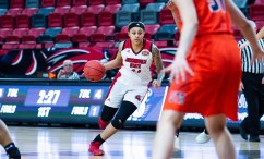 Guard Yamia Johnson (24) dribbles the ball at JSU's matchup against UT Martin in Pete Mathews Coliseum on Feb. 22. (Abigail Read/JSU)