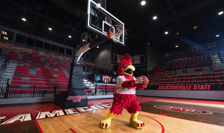 Cocky poses for a photo in the Pete Mathews Coliseum. The Ohio Valley Conference finalized a 20-game league slate last Thursday, Nov. 5. (Matt Reynolds/JSU)