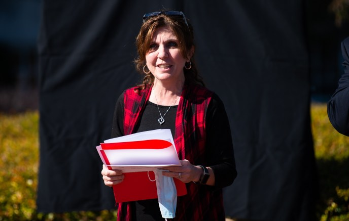 Provost Christie Shelton, pictured, speaks at the unveiling of the president's list sign outside of Bibb Graves Hall earlier this month. (Matt Reynolds/JSU)