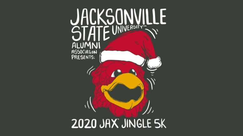 The 2020 Jax Jingle 5K runs from Dec. 4 to Dec. 13 and is completely virtual, meaning participants can complete the 5K whenever they want and at their own pace. (Courtesy of JSU Alumni Association)