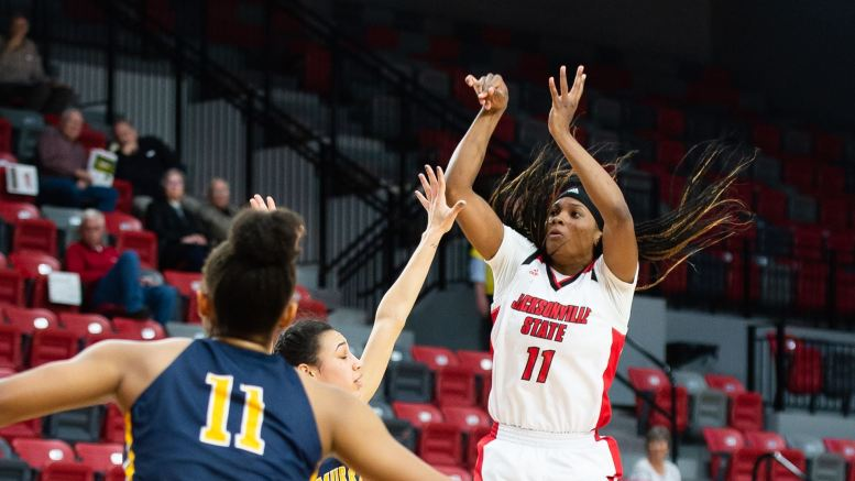 Senior Kiana Johnson (11) shoots the ball. (Courtesy of JSU)