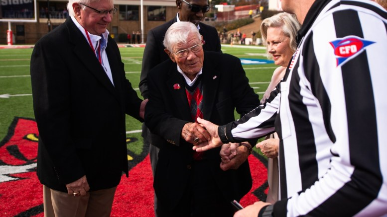 Former JSU football coach Don Salls, pictured middle, died at 101 on Jan. 2. (Matt Reynolds/JSU)