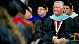 President Emeritus Bill Meehan attends fall graduation on Dec. 18, 2015. Meehan was hospitalized with COVID-19, the university announced. (Steve Latham/JSU)