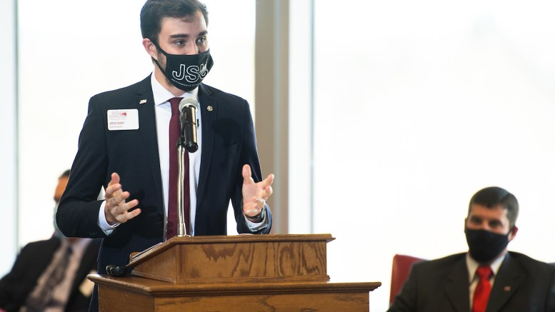 SGA President Jerod Sharp speaks at the January 2021 Board of Trustees meeting. Sharp vetoed a bill on Monday that would have tabled all resolutions and bills at the end of an academic year. (Matt Reynolds/JSU)