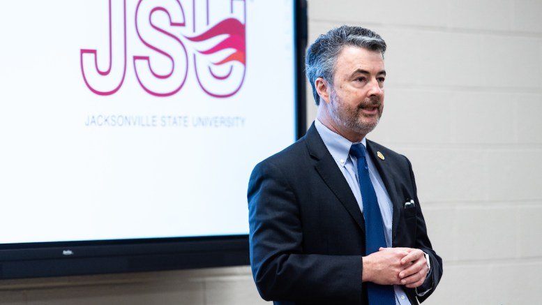 Alabama Attorney General Steve Marshall speaks at the Jacksonville State University McClellan Center on Tuesday as the Alabama Investigator Academy hosted its first day of classes. (Matt Reynolds/JSU)