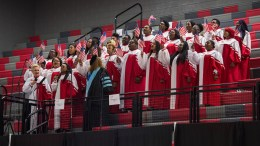 The Jacksonville State University gospel choir peforms at the 2016 investiture ceremony of former JSU President John Beehler. (Matt Reynolds/JSU)