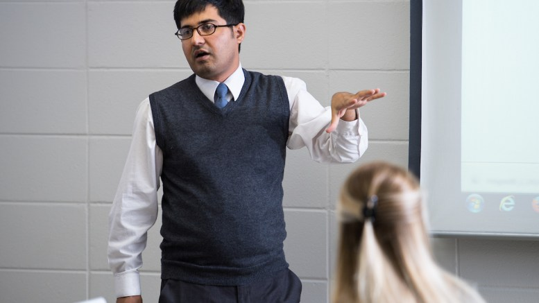 Sayyed Fawad Ali Shah, pictured instructing a class, has been a Communication professor at Jacksonville State since 2017. Photo captured in October 2017. (Matt Reynolds/JSU)