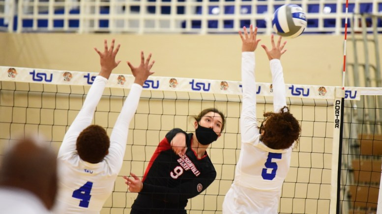 Jacksonville State University's volleyball team brought home a third straight sweep after a win over Tennessee State on Monday. (Courtesy of JSU)