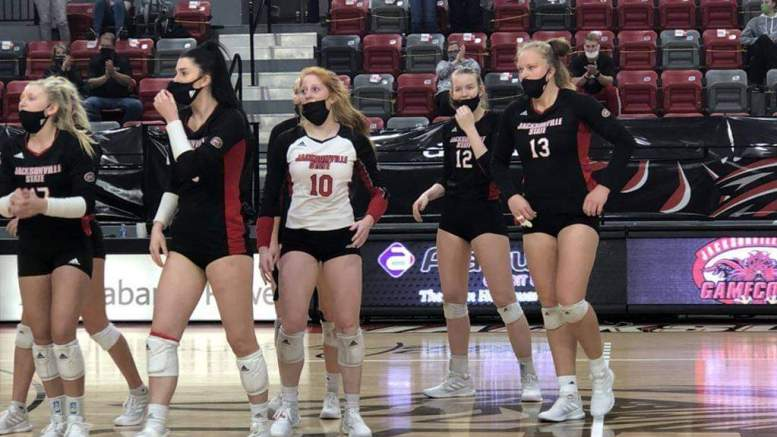 In back-to-back contests on Sunday and Monday, the JSU volleyball team defeated Southeast Missouri in both matches. (Courtesy of JSU)
