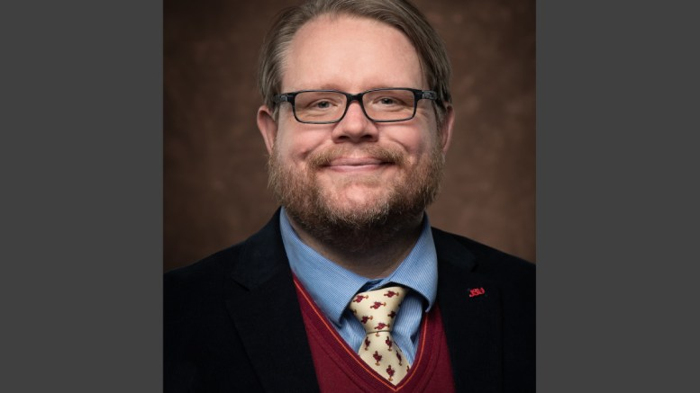 Christopher McCollough, pictured, has been a professor of Communication since January. McCollough was named the associate editor of the Journal of Public Relations Education. (Matt Reynolds/JSU)